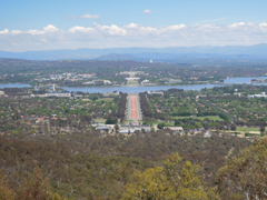 View over Canberra from Mount Ainslie Lookout